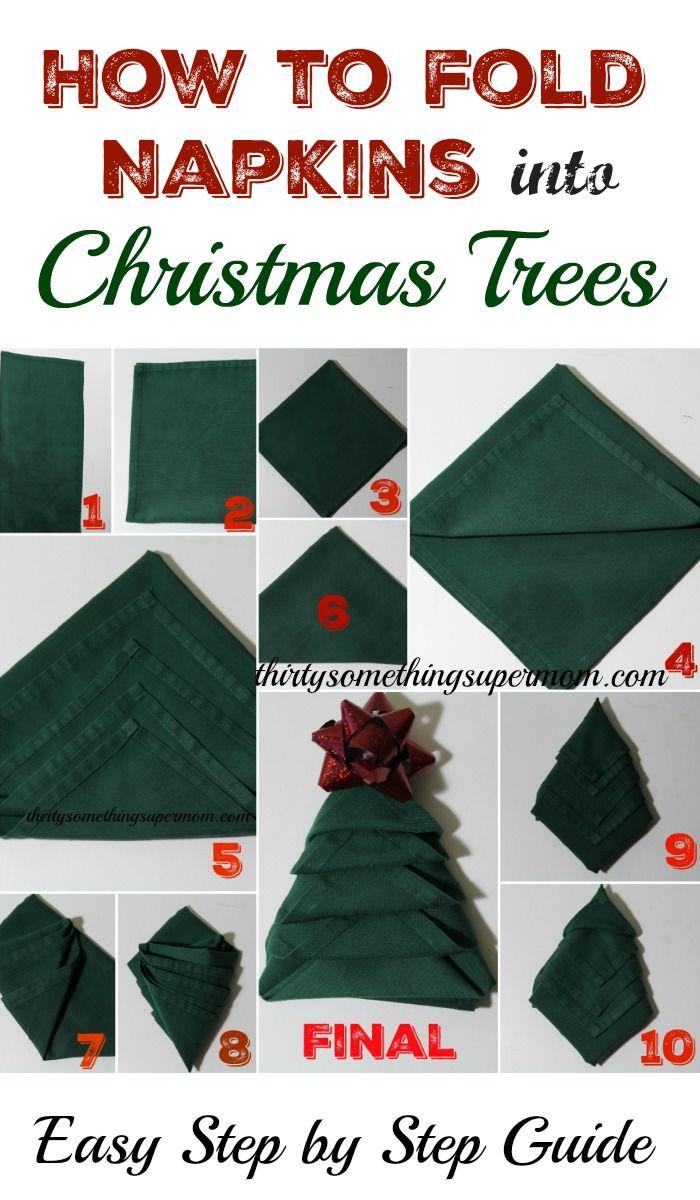 How to Fold Napkins into Christmas Trees #foldingnapkins
