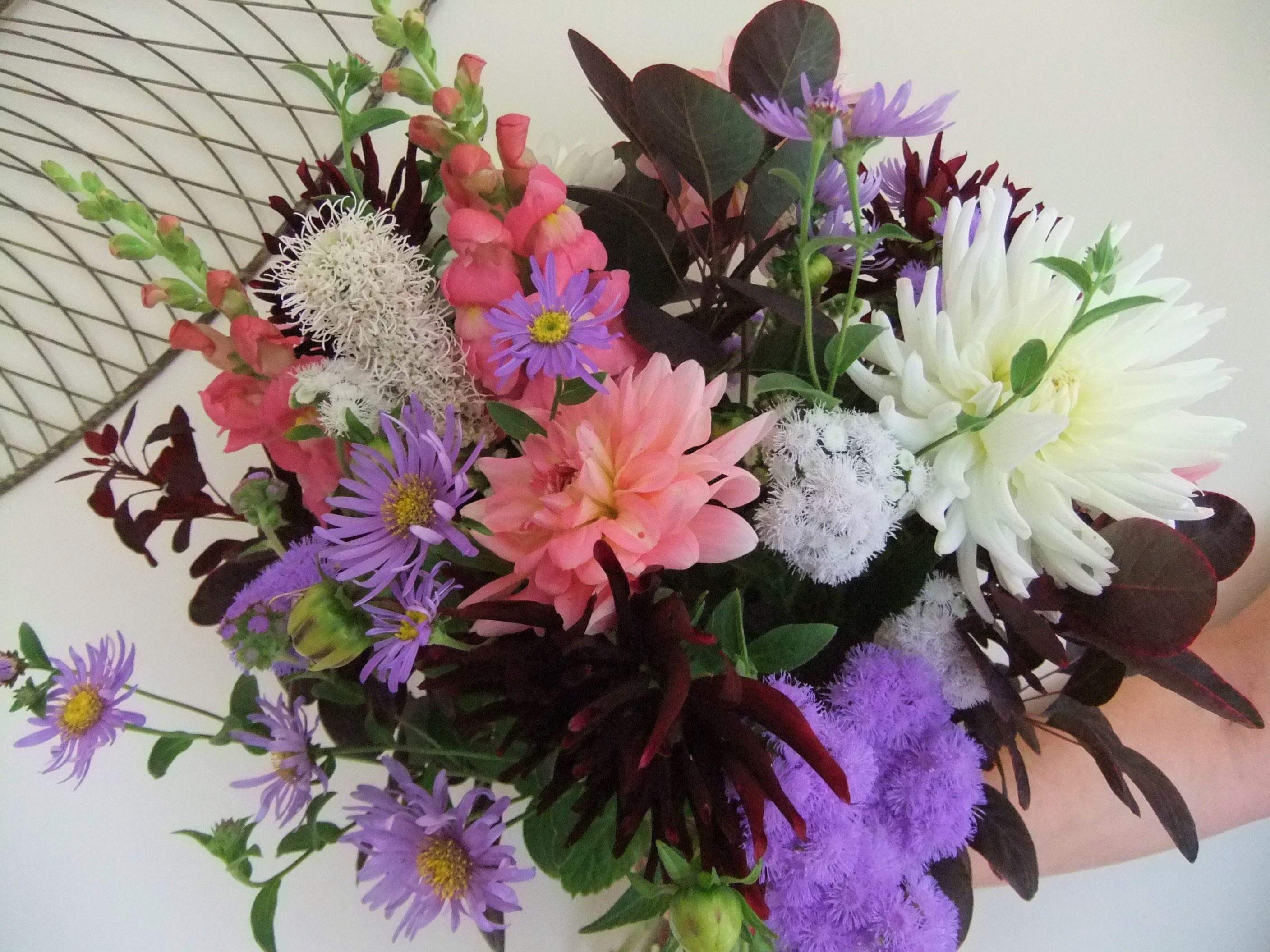 Late summer bouquet of English country garden flowers - Dahlias ...