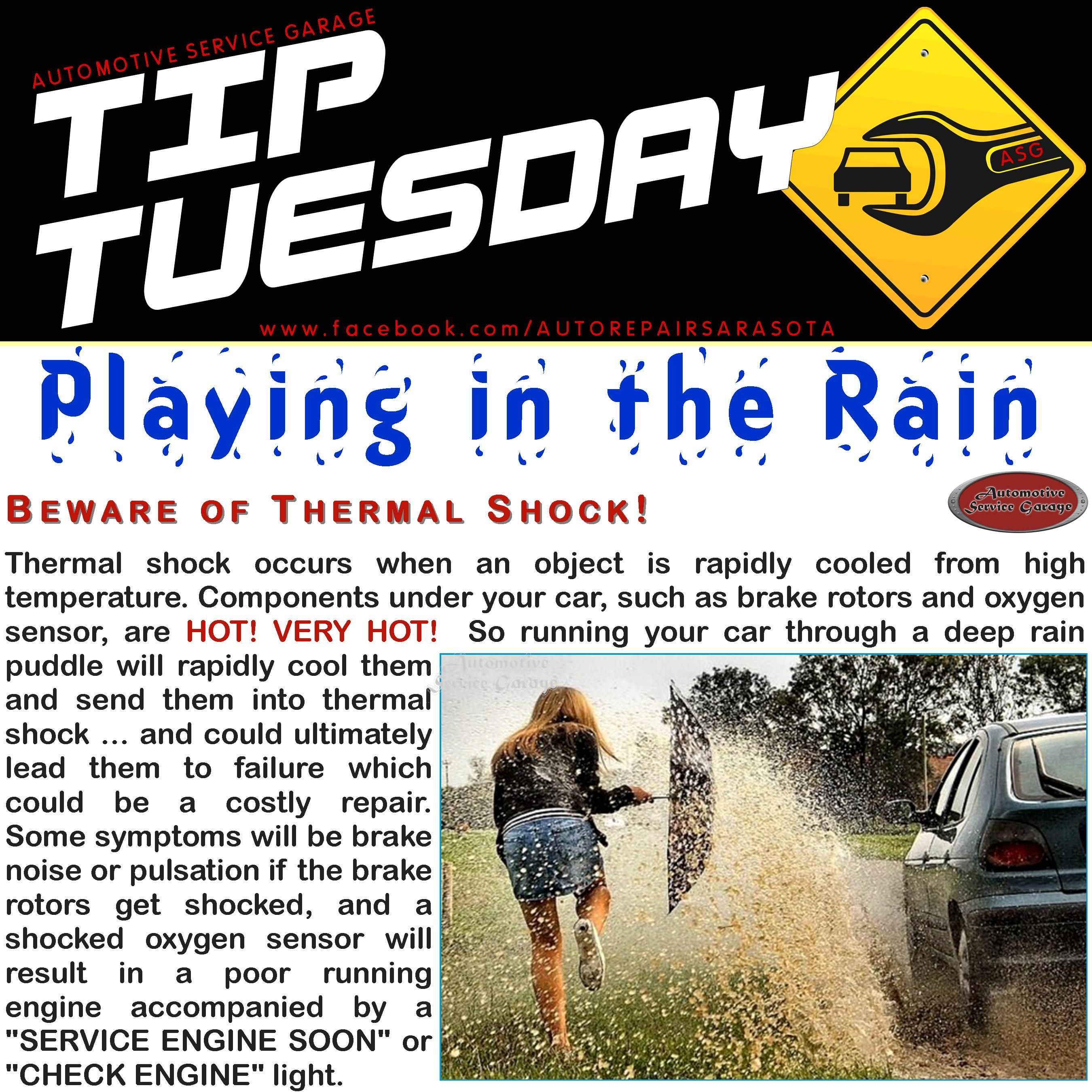 Car care tip avoid driving through a deep puddle the