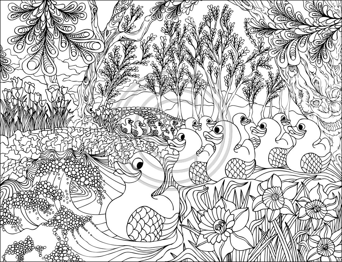 American Hippie Art Coloring Pages Duck Pond