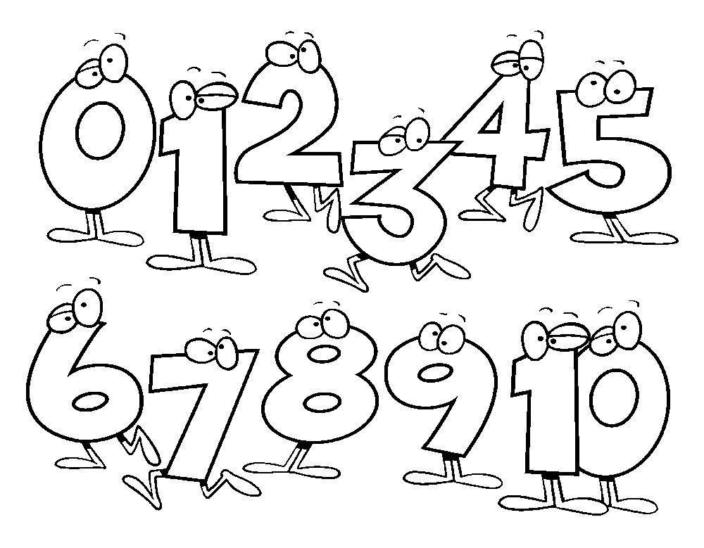 Printable Coloring Numbers : Funny numbers coloring pages for preschool free