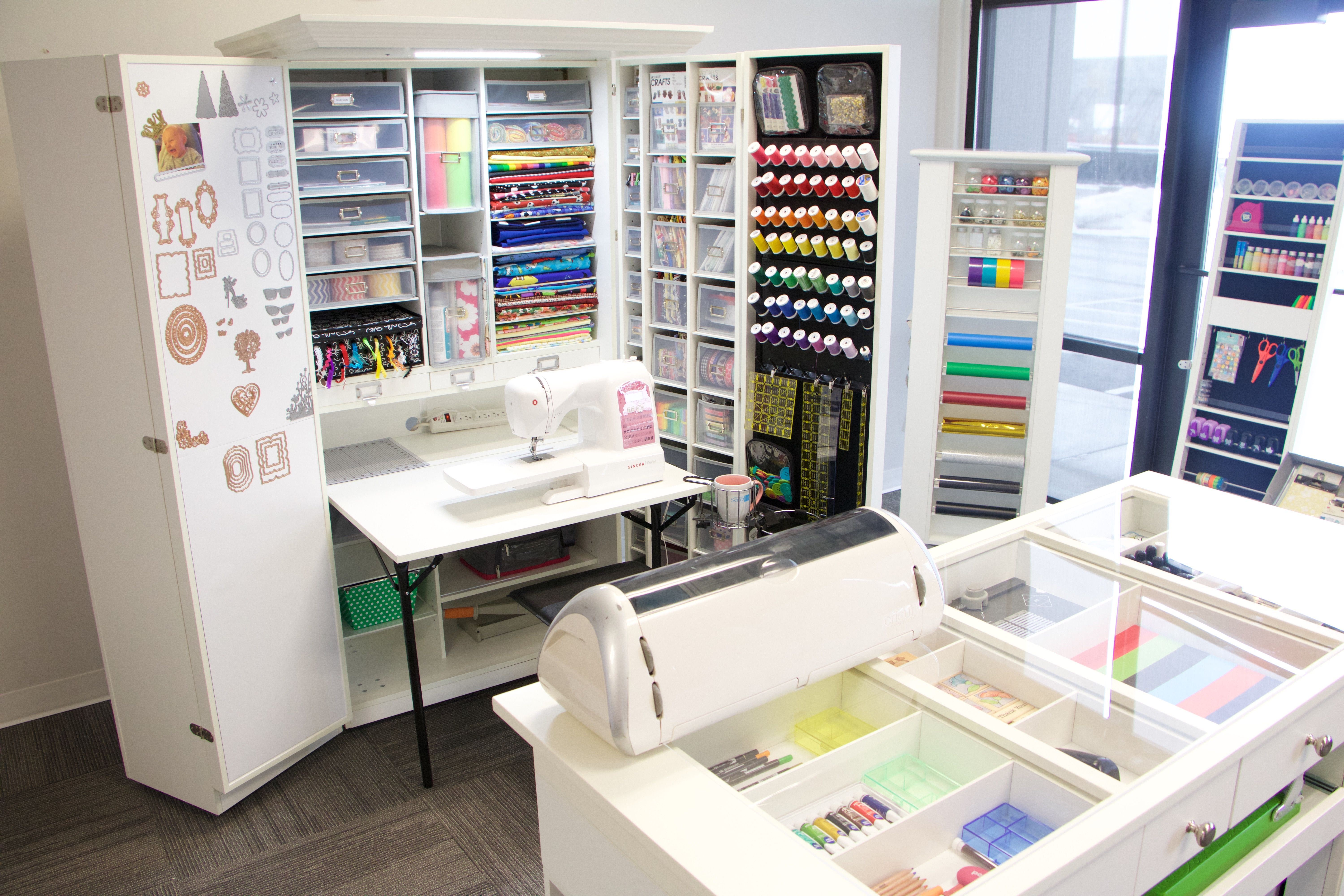 Dream Craft Room Www Theoriginalscrapbox Com Dream Craft Room Craft Storage Cabinets Craft Cabinet With Table