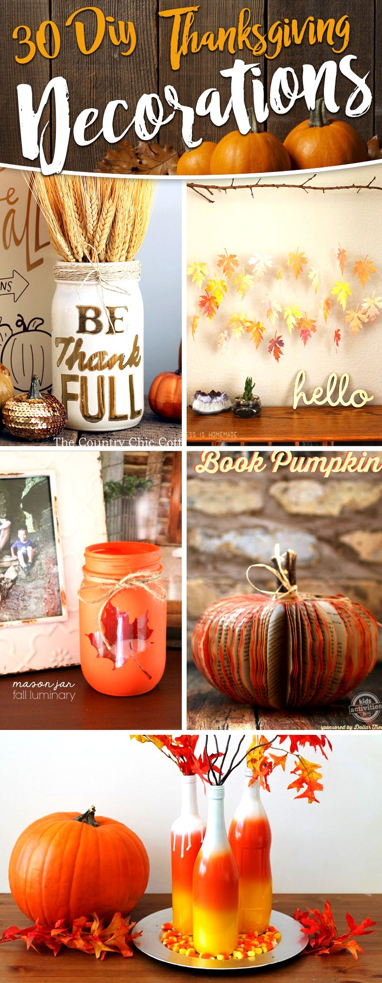 Diy thanksgiving decor pinterest - The Thankful Tree With Chalk Decor Source Simplyvintagegirl Mason Jar Fall Luminaries Decor Source Createcraftlove How To Make Diy Thanksgiving