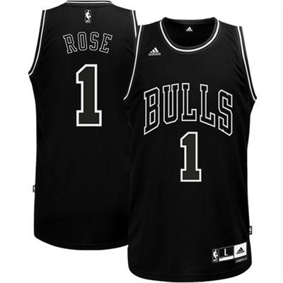 save off 2f6b5 13309 adidas Derrick Rose Chicago Bulls Black & White Swingman ...