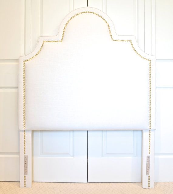 Upholstered Headboard Portman Shape White Linen Fabric Small Bright Brass Nailhead Trim Upholstered Headboard Fabric Headboard Upholster