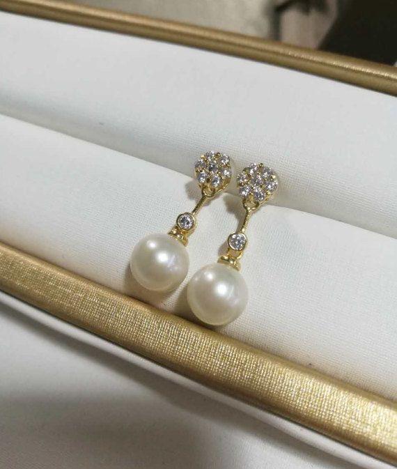 freshwater pearl earrings pearl drop earrings wedding pearl