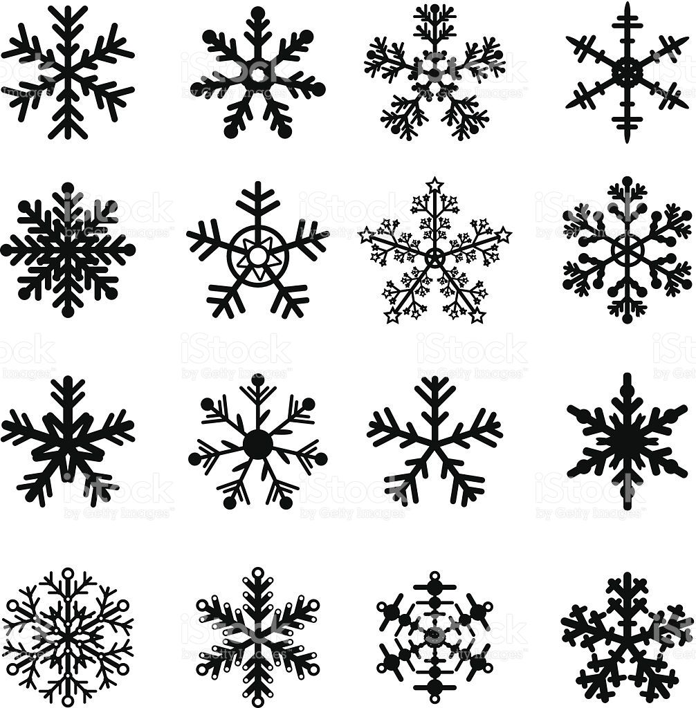 16 Black and White Snowflakes Set. Easy to edit vector
