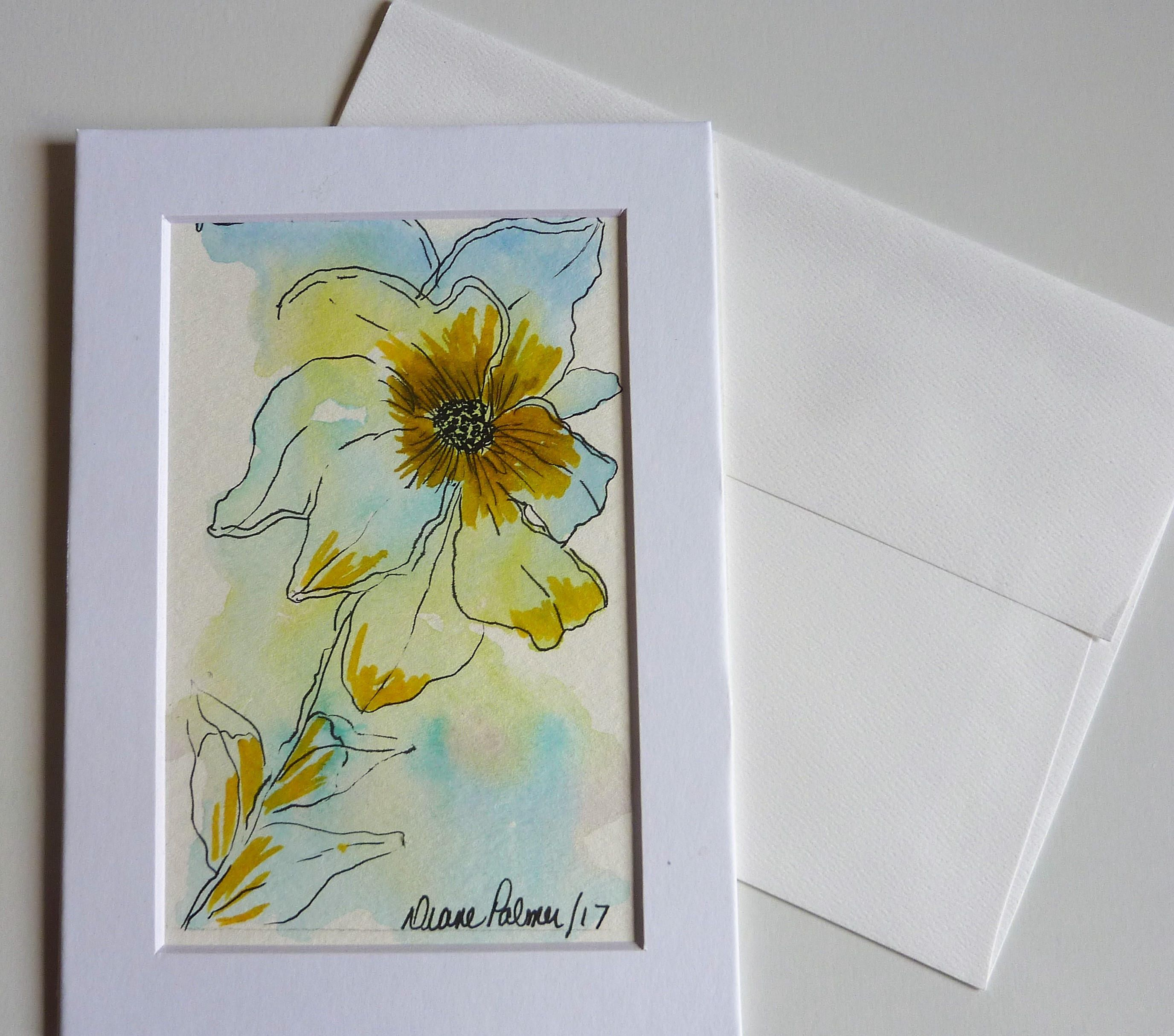 Watercolor doodle art 5 x 7 inch greeting card hand painted card watercolor doodle art 5 x 7 inch greeting card hand painted card kristyandbryce Choice Image