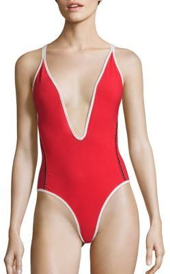 77c68424053 ULTIMATE BAYWATCH suit inspiration... super high french cut and deep v-neck  in lifeguard red! Jonathan Simkhai Sexy Lace-Up One-Piece Swimsuit Mesh  insets ...
