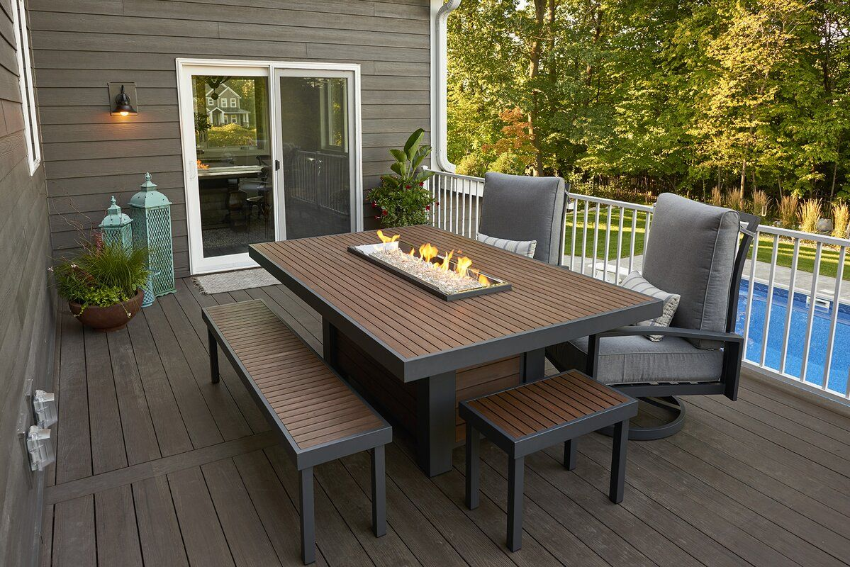 Kenwood Composite Propane Natural Gas Fire Pit Table Patio Gas