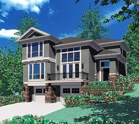 Plan 6924am for a front sloping lot narrow lot house for Sloped lot home designs
