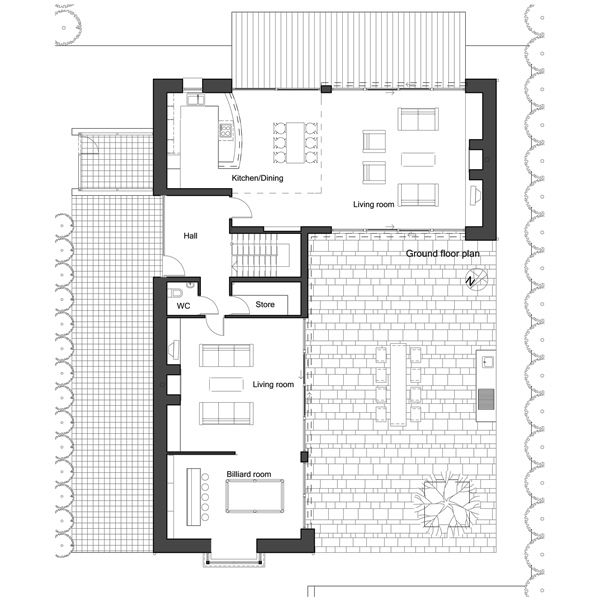 4-Bedroom L-shaped floor plan.... Might make billard room