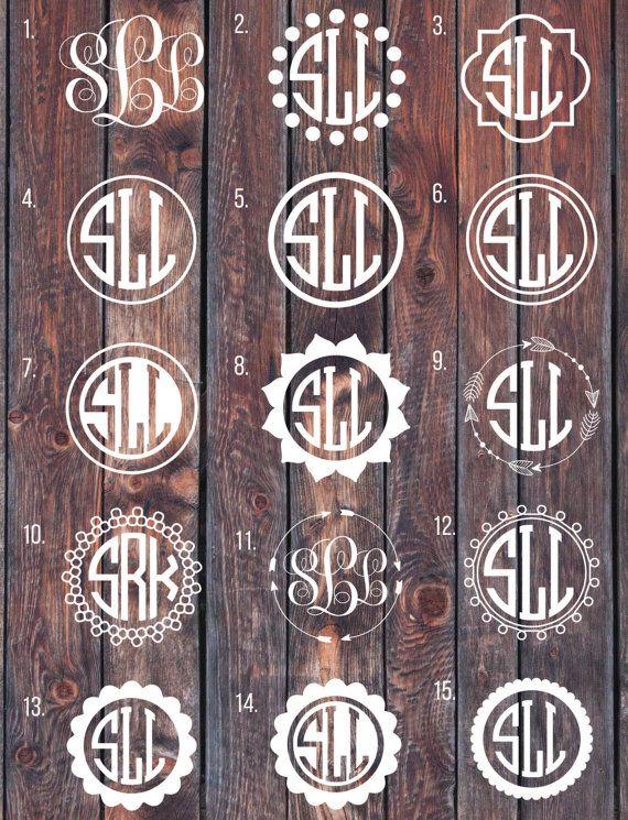 Monogram Decal Monogram Sticker Circle Monogram Car By SLrustic - Circle monogram car decal