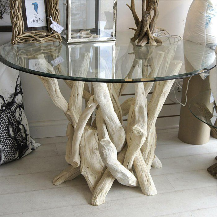 Bleached Driftwood Round Dining Table Designed By Karen Miller