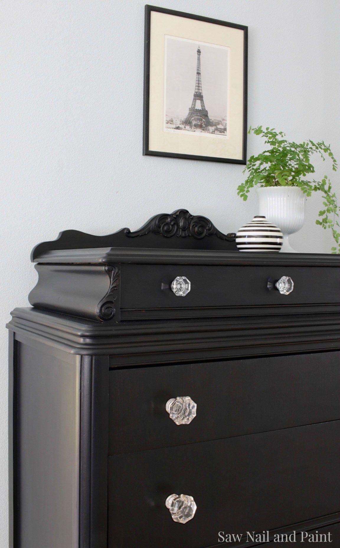 Lamp Black Vintage Dresser close up 2