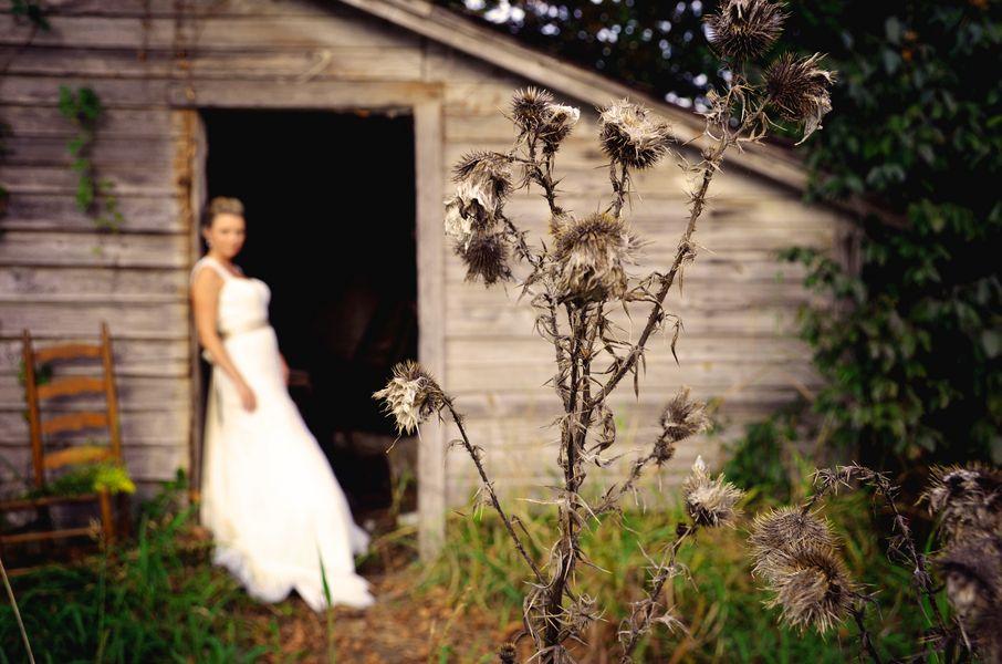 Bride At Rustic Wedding