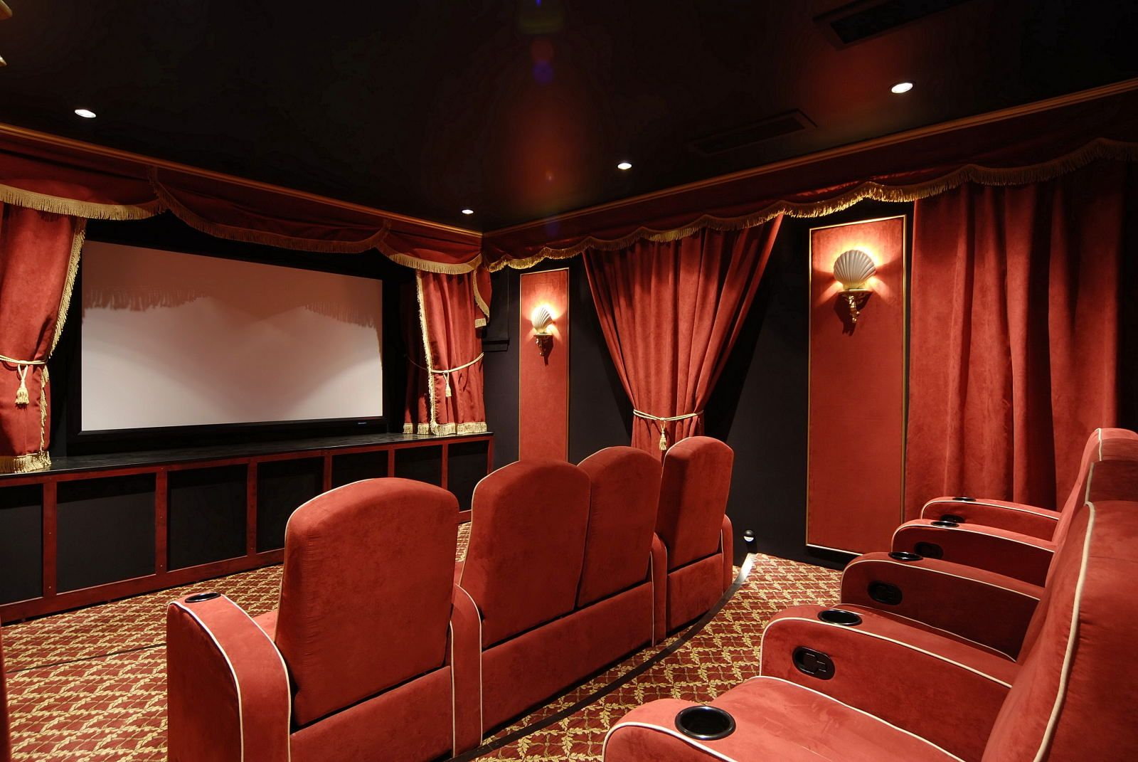 Charming Media Room Curtain Ideas Part - 3: Decorating Your Basement Media Room Ideas And Design Needs Some Planning To  Create The Same Cinema