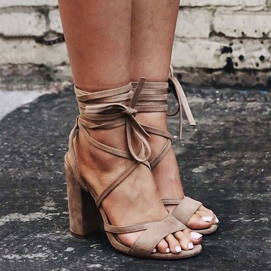 4d6e147db77 Apricot Round Toe Chunky Cross Strap Fashion High-Heeled Sandals - Happy  Hour