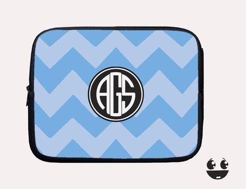 Laptop Sleeve, Laptop Case, Laptop Bag Blue Chevron Black Monogram
