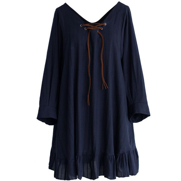 149d29bb22 Chicwish Boho Stripes Ruffled Babydoll Dress in Navy ($42) ❤ liked on  Polyvore featuring dresses, vestidos, blue, babydoll dress, blue ruffle  dress, ...