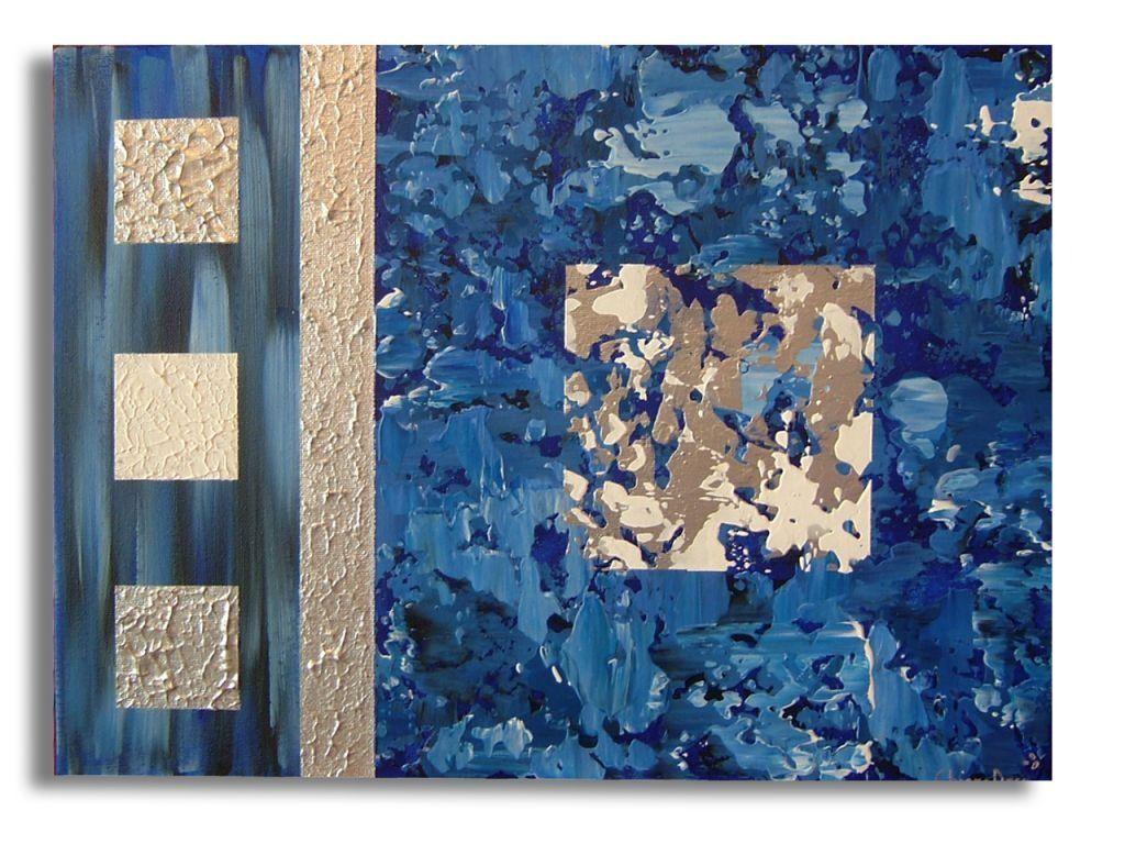 Comment Faire Du Gris Argenté En Peinture tableau contemporain moderne art abstrait bleu gris blanc de