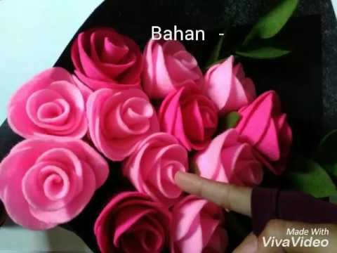 diy how to make felt flower tutorial easy simple cara membuat bunga flanel