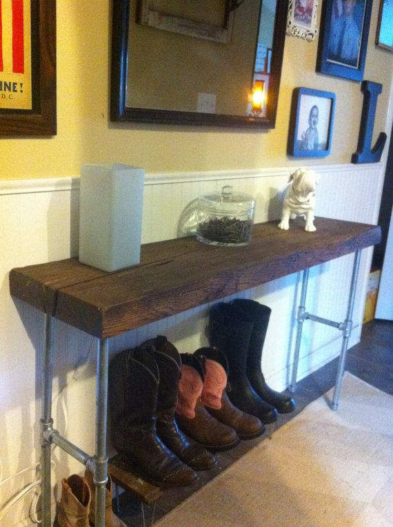 Reclaimed barnwood hickory table wood side, entry way loft sofa ...