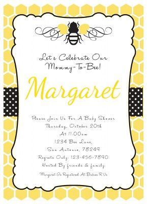 Bumble Bee Baby Shower Invitation Bumble Bee Party Pinterest