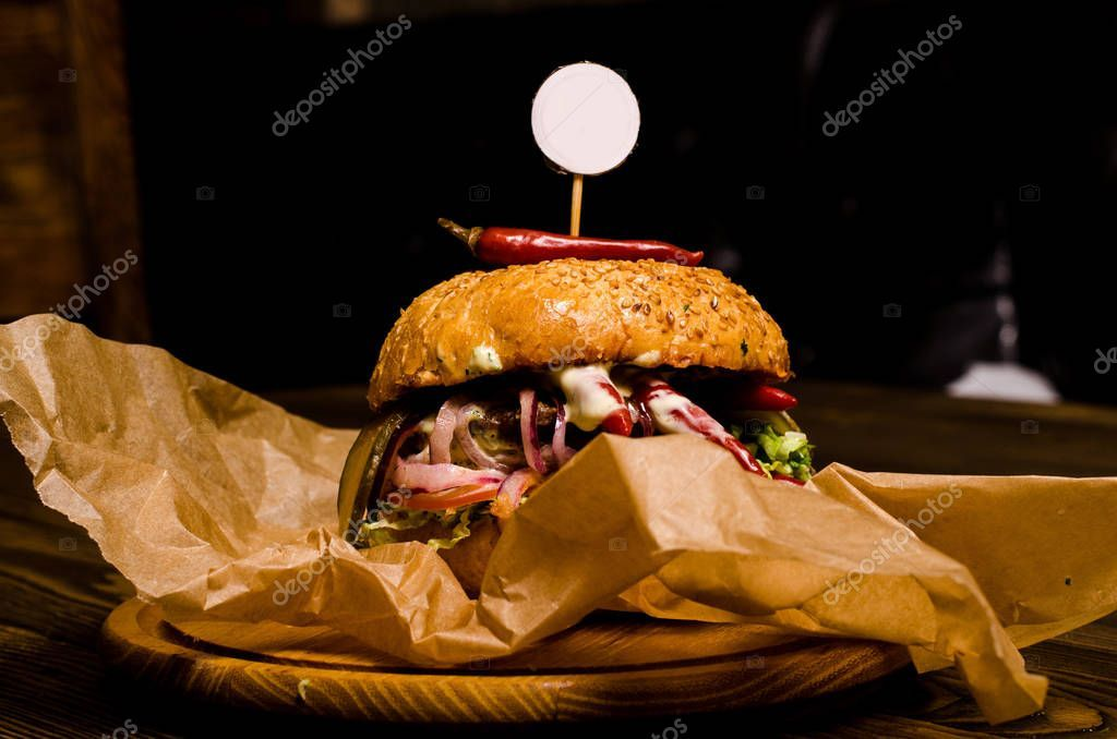 Bacon Burger With On Wooden Table Stock Photo Sponsored Wooden Burger Bacon Photo Ad
