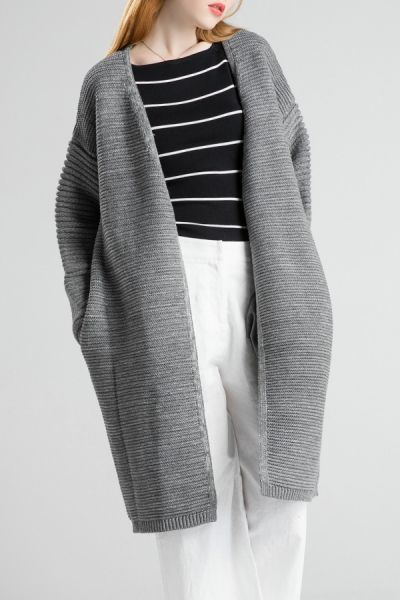 Gray Pleated Knitted Cardigan | Coatigan