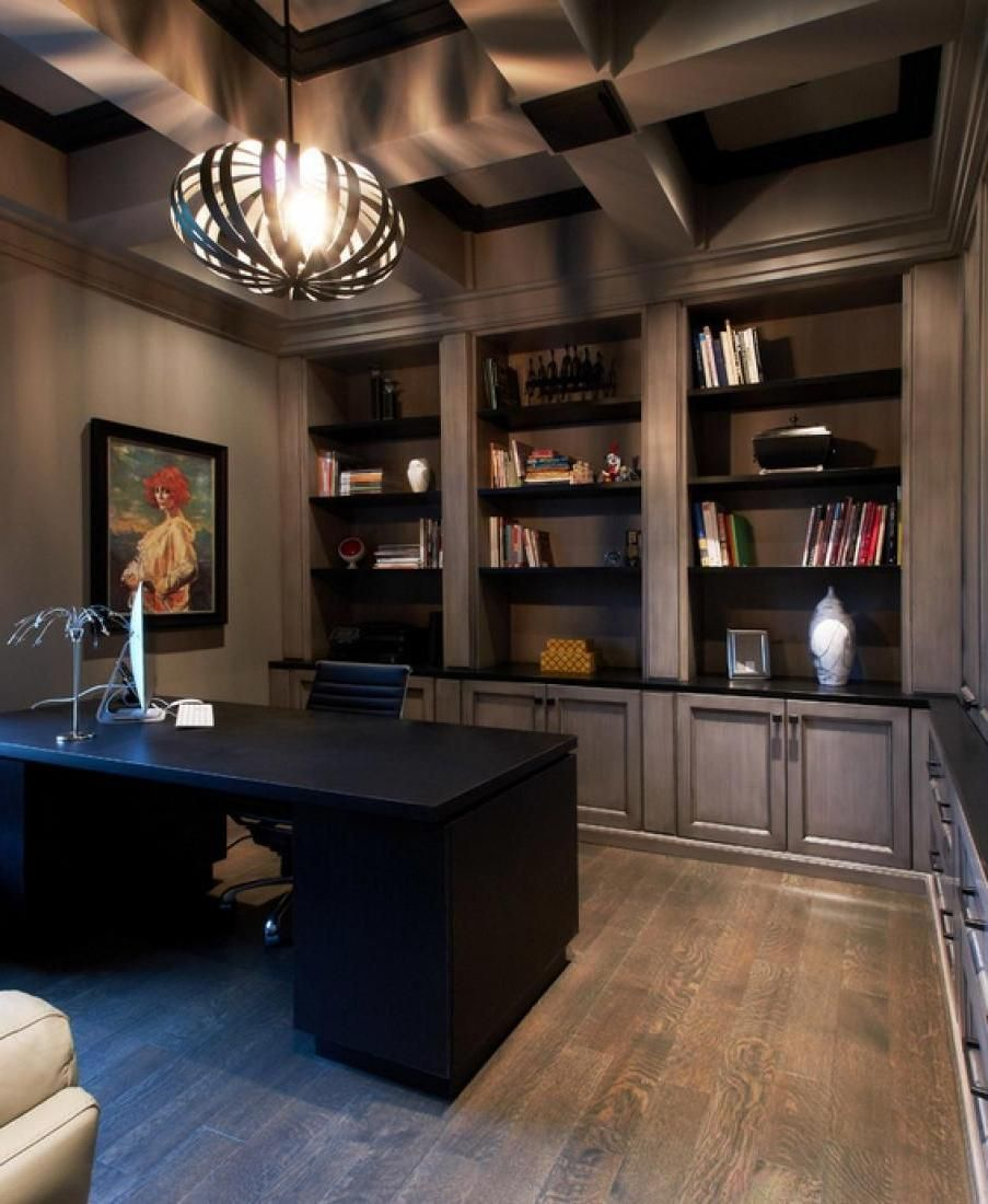 11 cool home office ideas for men office home library - Small office setup ideas ...