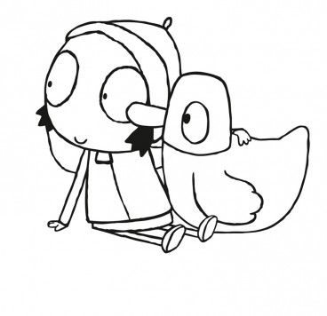Colour In Duck And Sarah Sarah Duck Make And Colour Cbeebies Globalshow Icon Templateshow Icon Templateshow Ico Sarah Duck Duck Birthday Coloring Pages