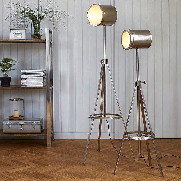 Hector nickel plated tripod floor lamp
