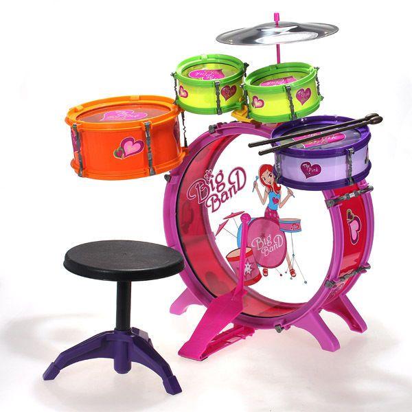 8 Piece Drum Set Kids Toy Instrument Cymbals Stands Stool Pink Boy Children Gift