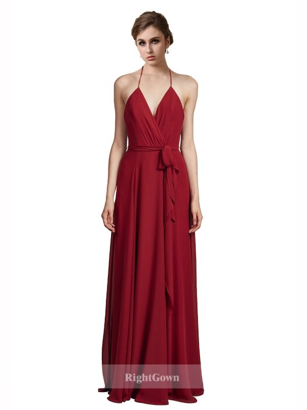 Cheap Bridal Shop Princess Halter 2018 Long Chiffon Burgundy ...