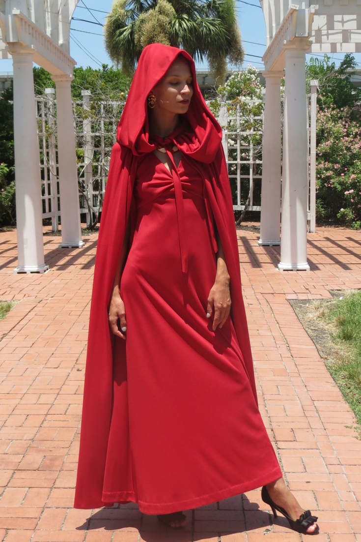 S red maxi dress with long hooded cape littleredridinghood