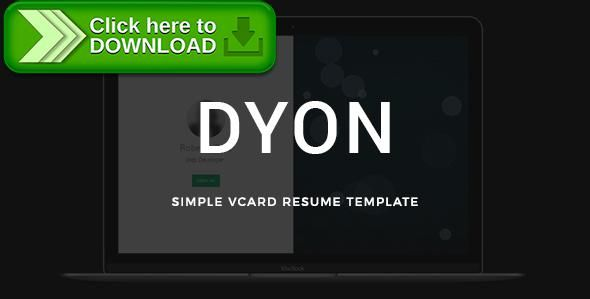 Free nulled DYON - Simple vCard Resume Template download Online - online resume download