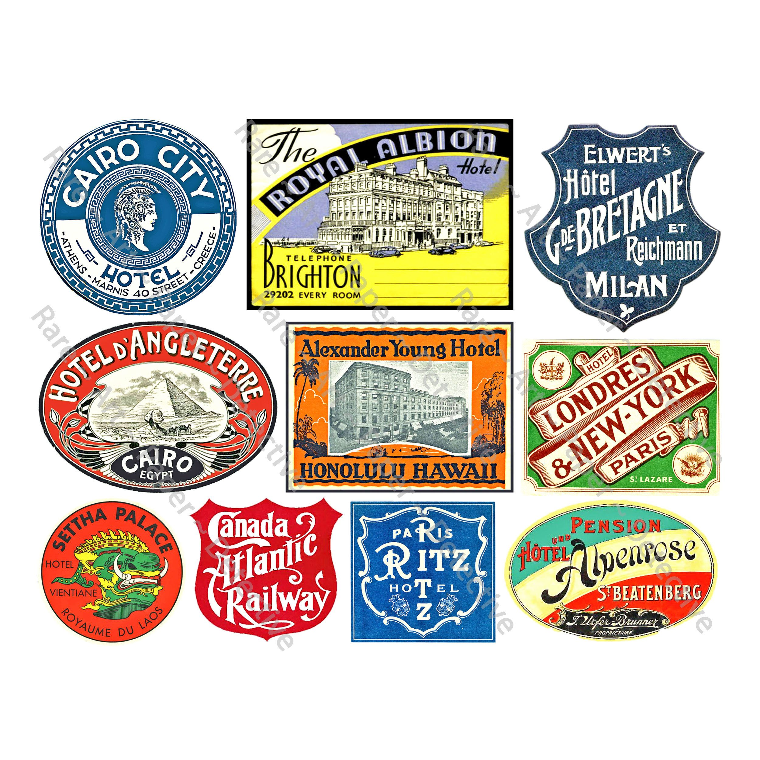 Travel Stickers Luggage Labels 10 Baggage Tags Retro Travel Etsy In 2020 Journal Stickers Travel Stickers Luggage Labels