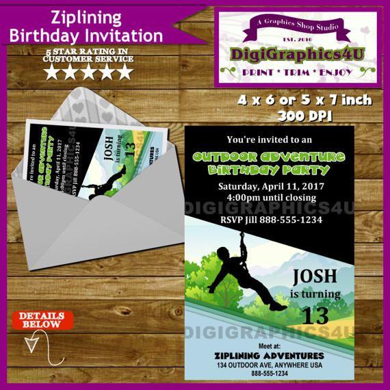 Ziplining zip lining zip line or outdoor adventure birthday party ziplining zip lining zip line or outdoor adventure birthday party invitation personalized printable file stopboris Gallery