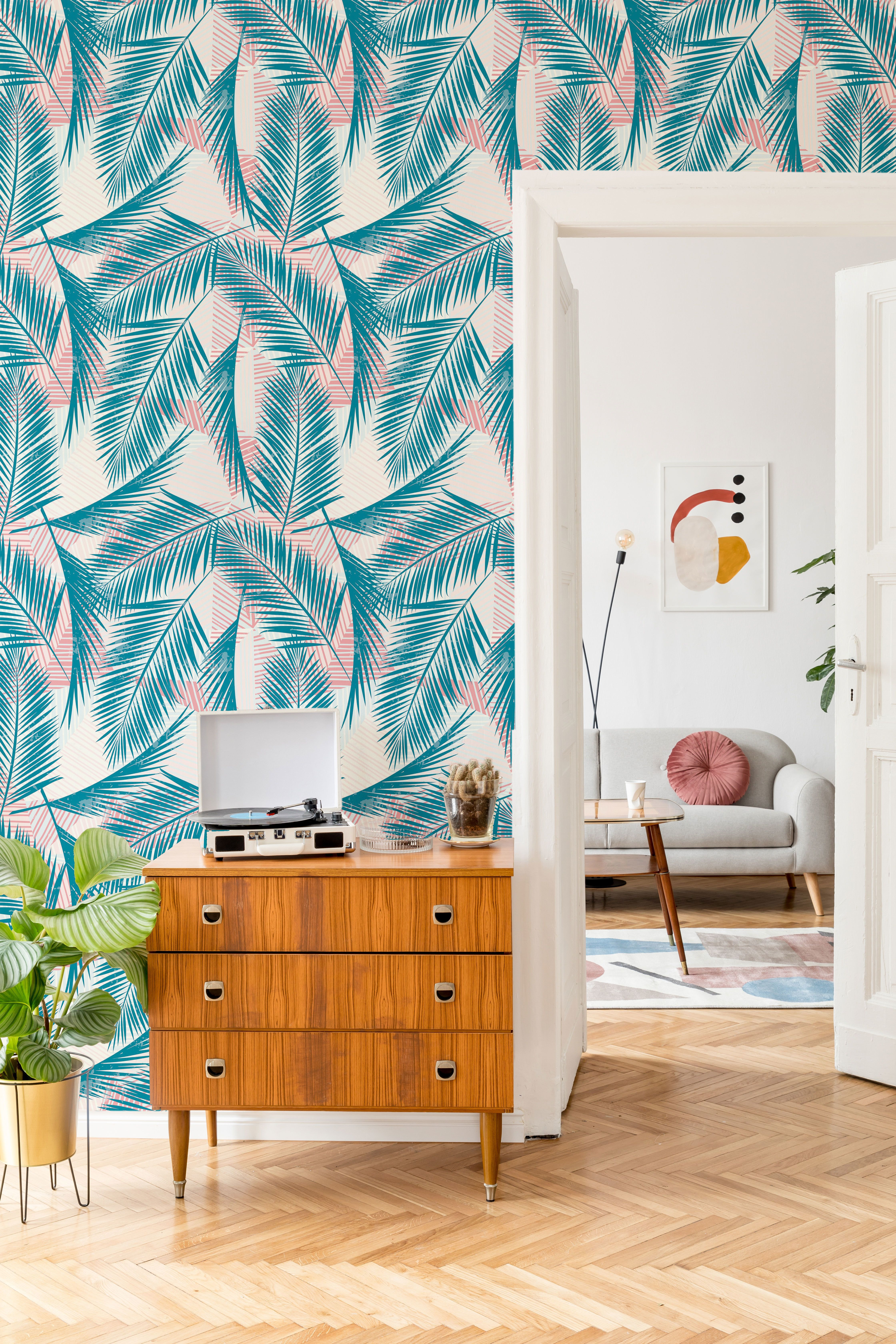 Blue and Red Tropical Floral Fabric Removable Wallpaper 1328