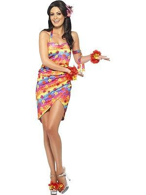 943e145f696e HAWAIIAN PARTY GIRL LADIES FANCY DRESS COSTUME BEACH PARTY OUTFIT SIZE 8/10