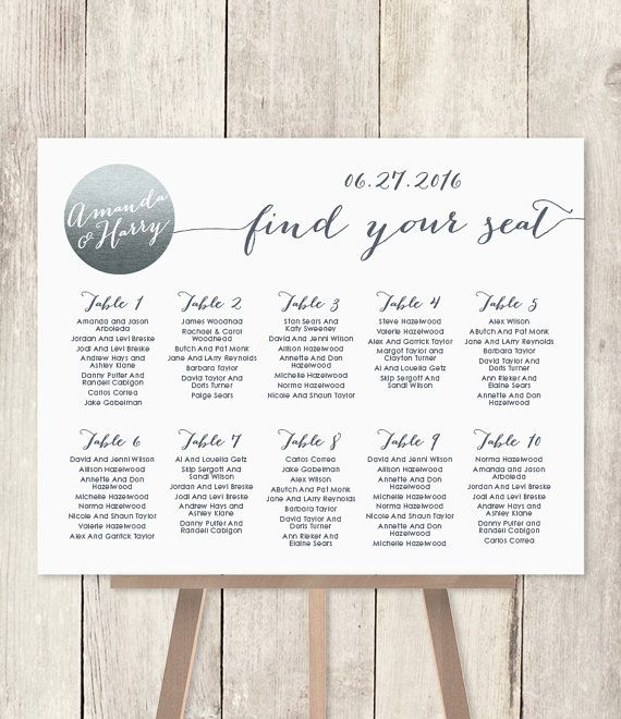 Wedding Seating Chart Sign Diy  Silver By Jadeforestdesign  Our