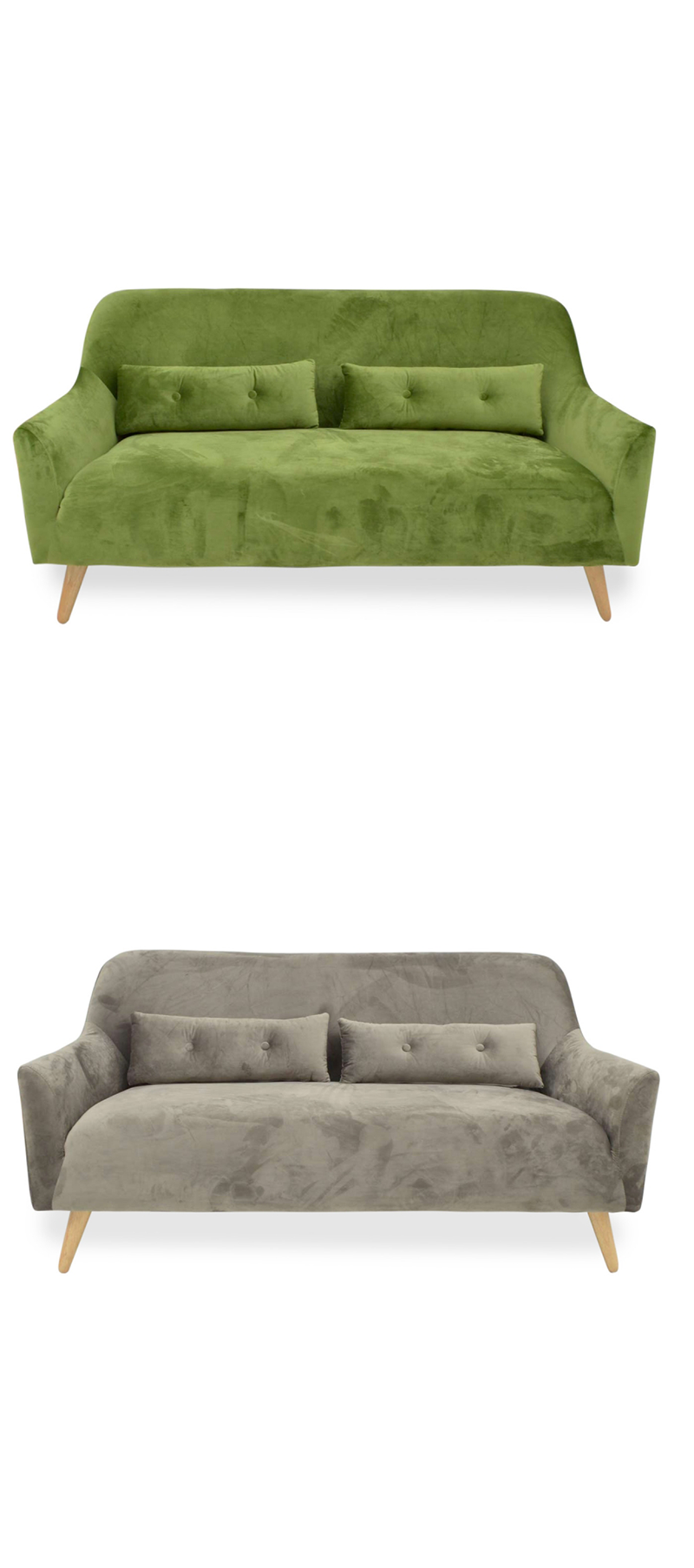 Sillón de terciopelo Linae, disponible en dos colores: gris y verde ...