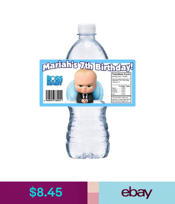 Boss Baby birthday party Boss baby water bottle labels Boss Baby water bottle labels boss baby party favors