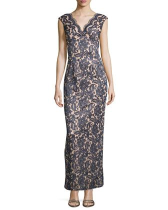62c85ffebad7 Sequined+Lace+Sleeveless+Gown,+Navy+by+Marina+at+Neiman+Marcus+Last+Call.