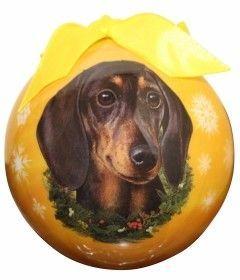 Dachshund Christmas Ornament Shatter Proof Ball (Set of 2)