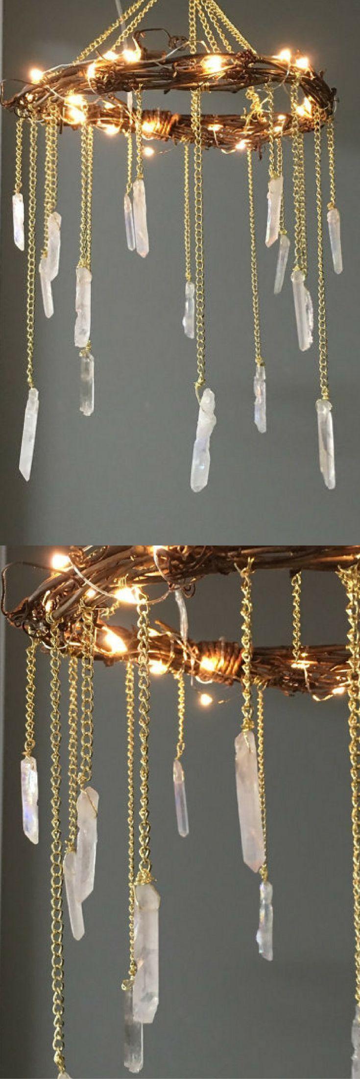 Boho Lighted Crystal Chandelier Crystal Mobile Crystal Point - Quartz chandelier crystals