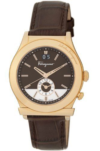 Ferragamo Men's F62LDT5095 S497 1898 Quartz Dual Time Brown Croco-Print Calfskin Watch Ferragamo. $801.80. Second hand with double Gancino logo. Ronda 6203B Quartz Big Date. Water-resistant to 99 feet (30 M). Big date at 12 o?clock and Second time zone at 6 o?clock. Gold IP Steel crown with engraved F logo
