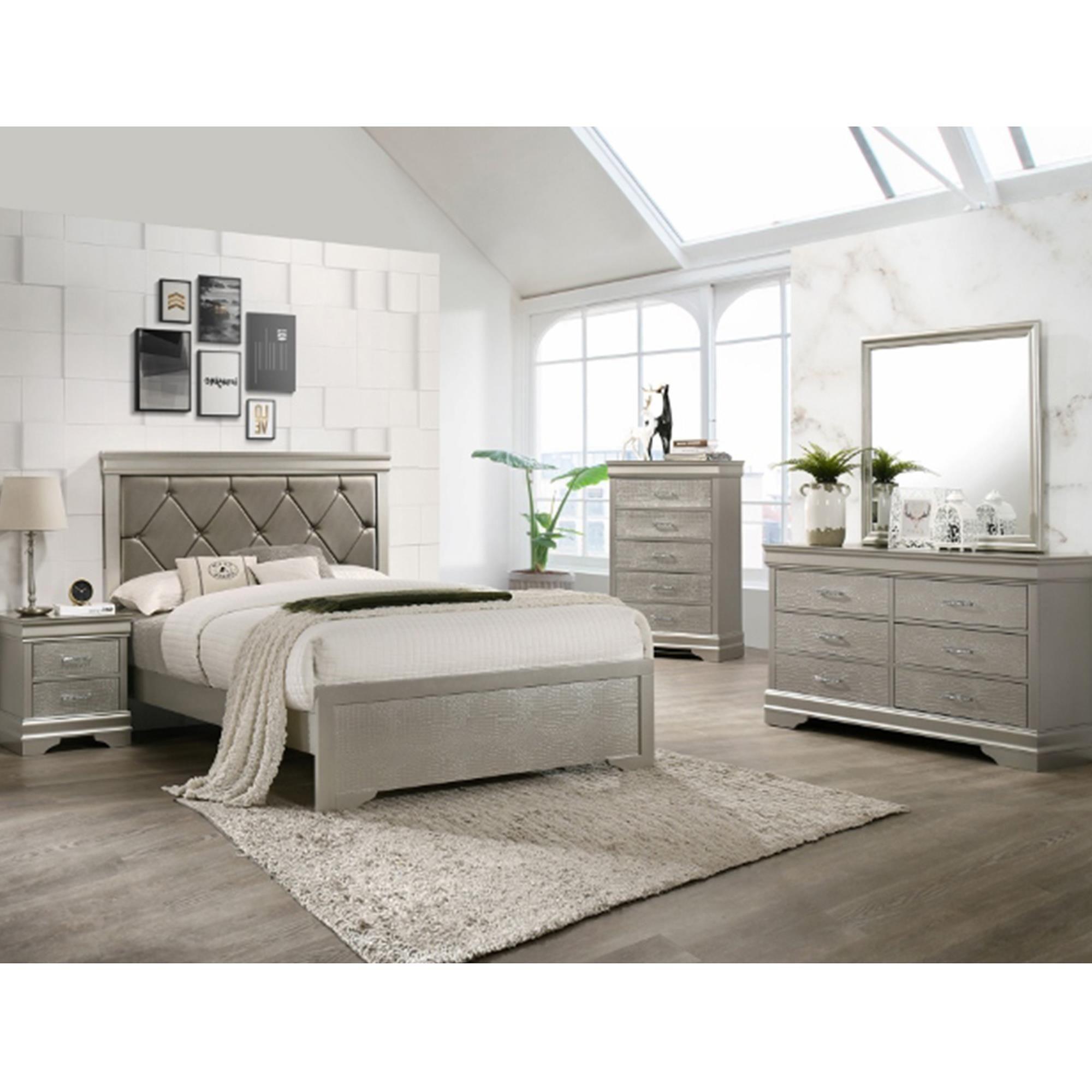 Claremont Amalia 8 Piece Queen Bedroom Set in Champagne  Nebraska