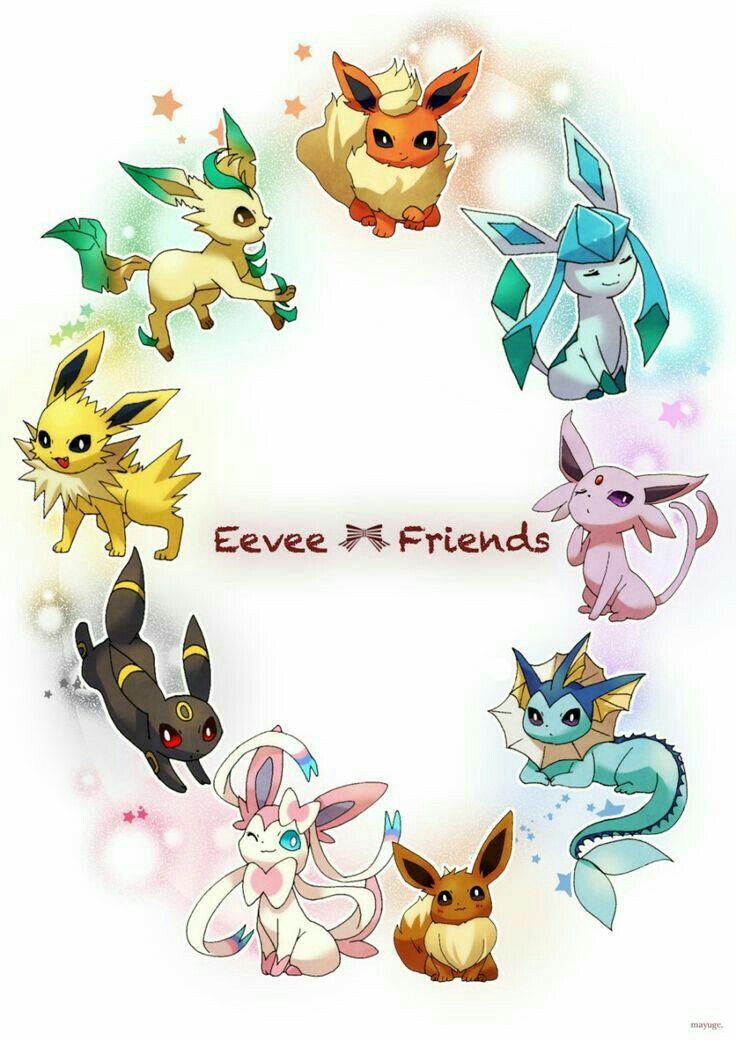 Eevee Friends, text, Eevee evolutions, Flareon, Jolteon, Glaceon, Leafeon, Umbreon, Espeon, Sylveon, Vaporeon; Pokémon